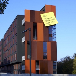 Post it, Kunst-am-Bau project, student hostel, Munich, 2007